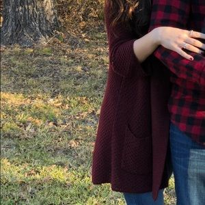 Lucky Brand Knit Cardigan Sweater Maroon Holiday